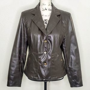 Maurices Brown Faux Leather Blazer Size S
